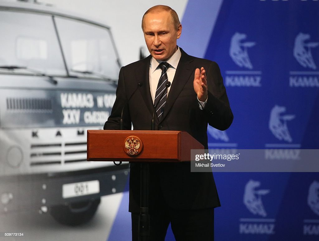 Russian President <a gi-track='captionPersonalityLinkClicked' href=/galleries/search?phrase=Vladimir+Putin&family=editorial&specificpeople=154896 ng-click='$event.stopPropagation()'>Vladimir Putin</a> speaks during a meeting at the Kamaz automobile plant on February 12, 2016 in Naberezhnye Chelny, Russia. Putin visited Kamaz, a Russian truck manufacturer, to mark 40 years since the start of production.