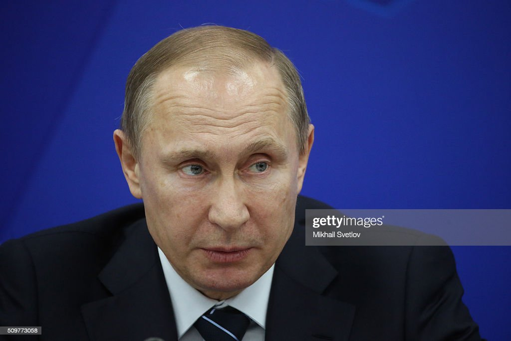 Russian President <a gi-track='captionPersonalityLinkClicked' href=/galleries/search?phrase=Vladimir+Putin&family=editorial&specificpeople=154896 ng-click='$event.stopPropagation()'>Vladimir Putin</a> speaks during a meeting of the Military-Industrial Commission while visiting the Kamaz plant on February 12, 2016 in Naberezhnye Chelny, Russia. Putin visited Kamaz, a Russian truck manufacturer, to mark 40 years since the start of production.