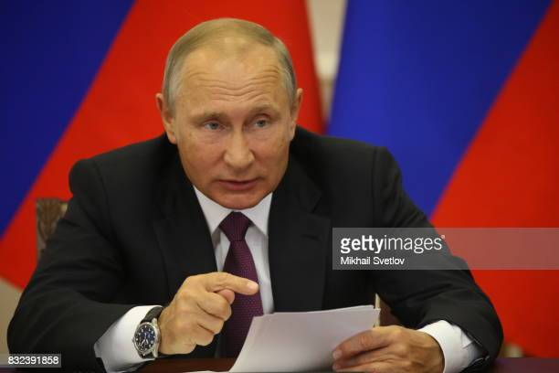 Russian President Vladimir Putin speaks during a meeting on transort infrastructure development on August 16 2017 in Pionersky Kaliningrad Oblast...