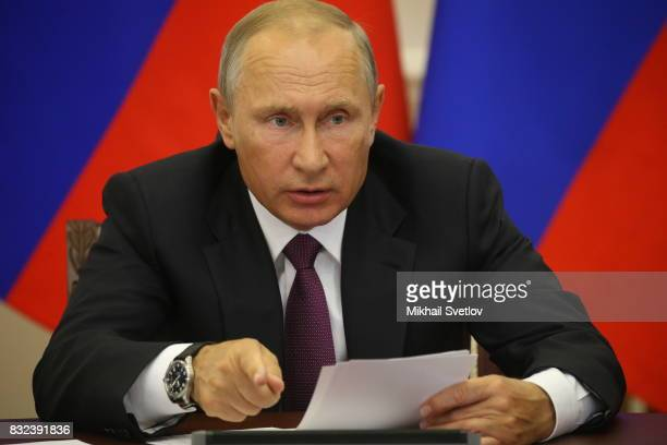 Russian President Vladimir Putin speaks during a meeting on transport infrastructure development on August 16 2017 in Pionersky Kaliningrad Oblast...