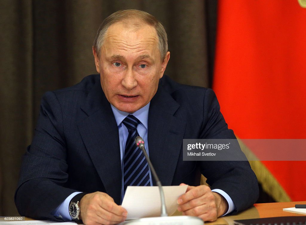 Russian President Vladimir Putin speaks during a meeting with top high-ranked officers of the Russian Defence Ministry and other top military officials of the Russian Army and Fleet on November, 17, 2016 in Sochi, Russia. Russia launced a major military offensive in Syria on Tuesday, hours after U.S.President-elect Donald Trump and Putin discussed the need to join forces to combat international terrorism.