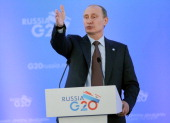 Russian President Vladimir Putin speaks during a press conference at the end of the G20 summit on September 6 2013 in St Petersburg Russia Putin said...