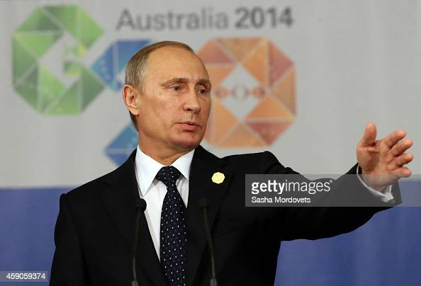 Russian President Vladimir Putin speaks during a press conference at the G20 Summit on November 16 2014 in Brisbane Australia World leaders have...