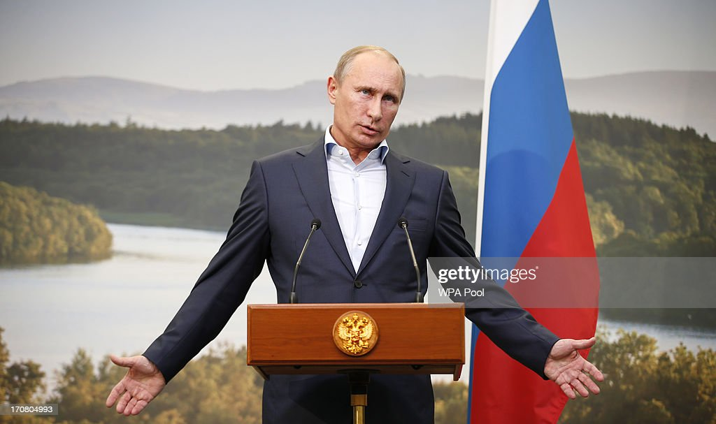 Russian President <a gi-track='captionPersonalityLinkClicked' href=/galleries/search?phrase=Vladimir+Putin&family=editorial&specificpeople=154896 ng-click='$event.stopPropagation()'>Vladimir Putin</a> speaks during a press conference on the second day of the G8 summit venue of Lough Erne on June 18, 2013 in Enniskillen, Northern Ireland. The two day G8 summit, hosted by UK Prime Minister David Cameron, is being held in Northern Ireland for the first time. Leaders from the G8 nations have gathered to discuss numerous topics with the situation in Syria expected to dominate the talks.