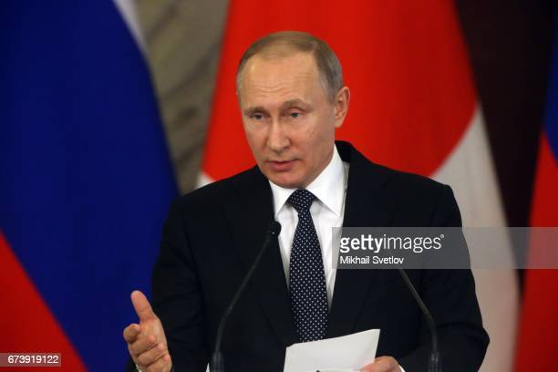 Russian President Vladimir Putin speaks during a press conference with Japanese Prime Minister Shinzo Abe at the Grand Kremlin Palace on April 27...