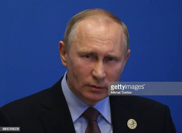Russian President Vladimir Putin speaks during a press conference after the Belt and Road Forum for International Cooperation at the International...