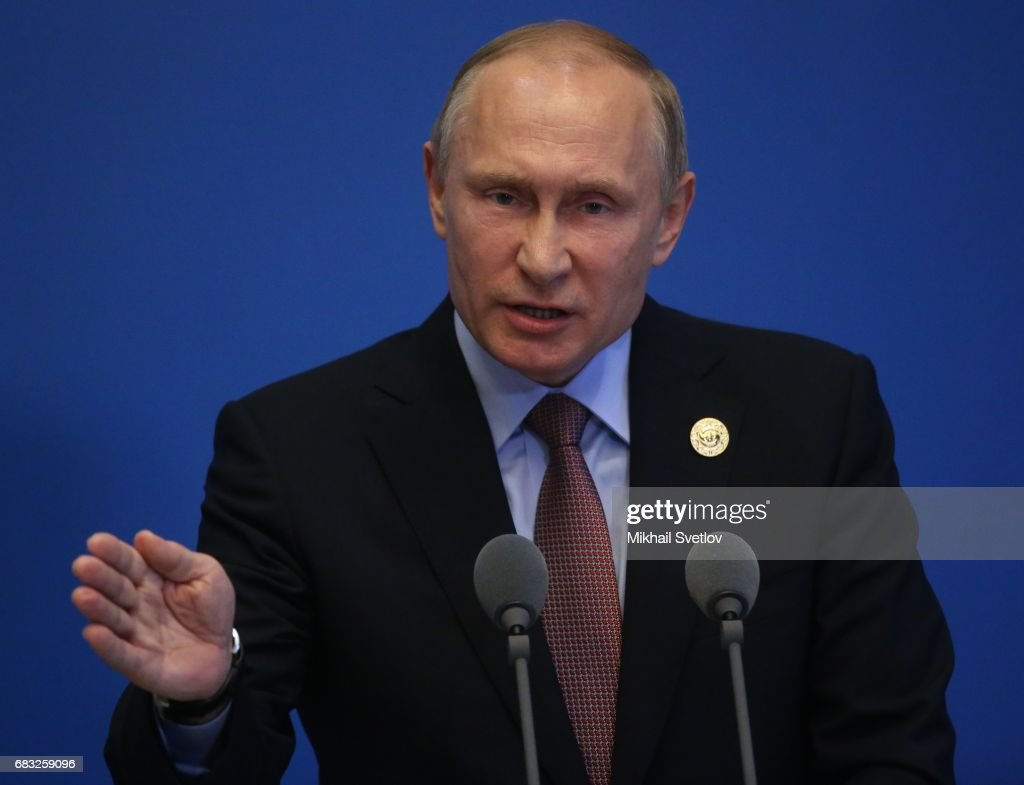 Russian President Vladimir Putin speaks during a press conference after the Belt and Road Forum for International Cooperation at the International Conference Center at Yanqi Lake on May 15, 2017 on the outskirt of Beijing, China. The Forum, running from May 14 to 15, is expected to lay the groundwork for Beijing-led infrastructure initiatives aimed at connecting China with Europe, Africa and Asia.