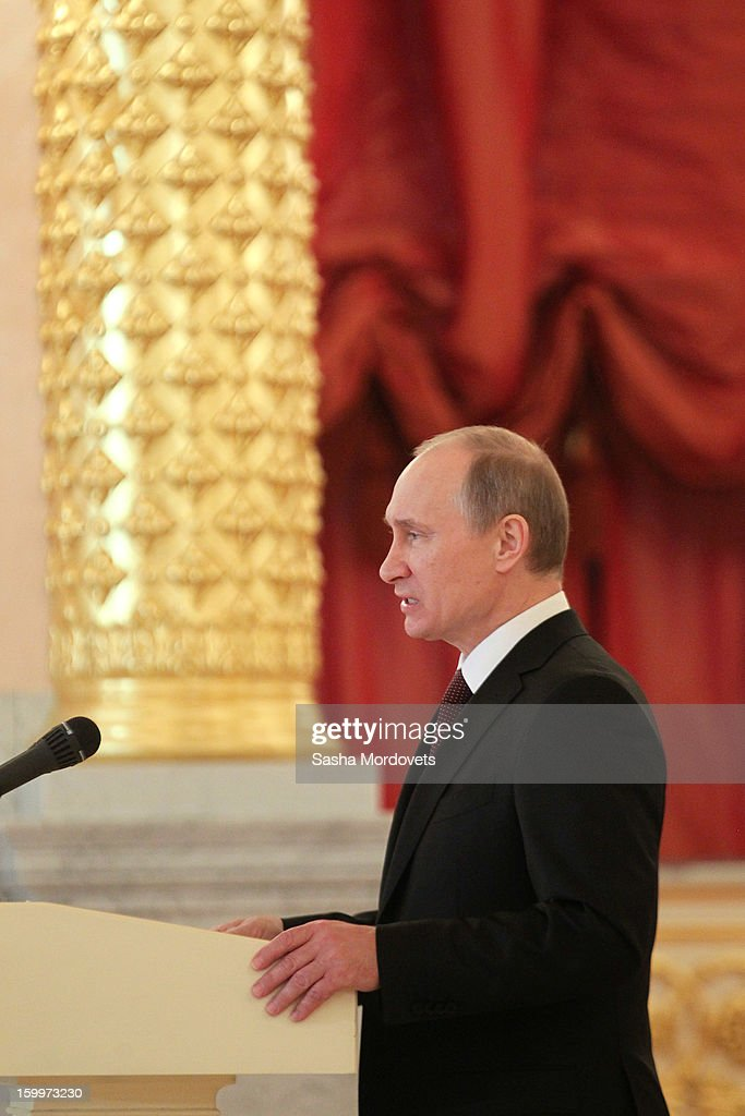 Russian President Vladimir Putin speaks during a reception for new ambassadors in the Alexander Hall of the Grand Kremlin Palace January 24, 2013 in Moscow, Russia. Putin received 20 new foreign ambassadors.