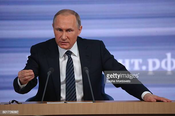 Russian President Vladimir Putin speaks during his annual press conference on December 17 2015 in Moscow Russia During the conference the Russian...