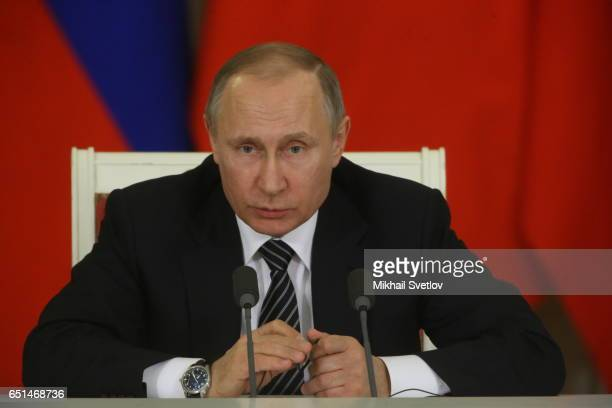 Russian President Vladimir Putin speaks during his joint press conference with Turkish President Recep Tayyip Erdogan at the Kremlin on March 10 2017...