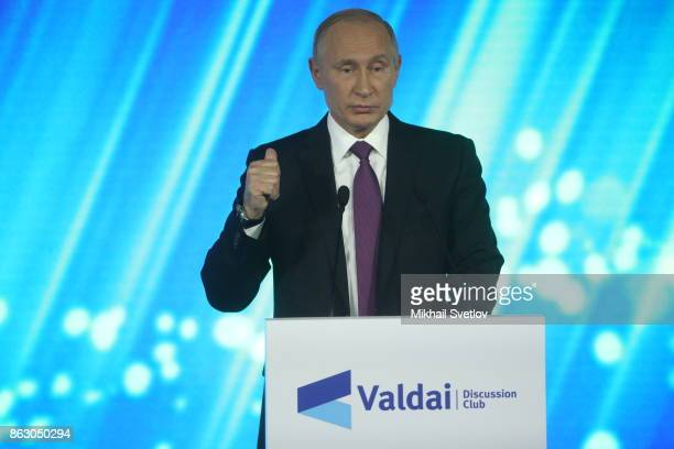 Russian President Vladimir Putin speaks during his meeting with Valdai Club members on October 19 2017 in Sochi Russia