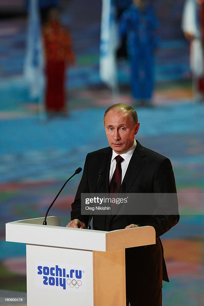 Russian president Vladimir Putin speaks during performance of Sochi 2014 - One Year To Go on Feb.7, 2013 in 'Bolshoi' Ice Dome in Sochi, Russia.