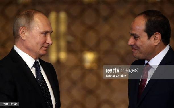 Russian President Vladimir Putin speaks during RussianEgyptian meeting in Cairo Egypt December 11 2017 Putin is on a oneday trip to Syria Egypt and...