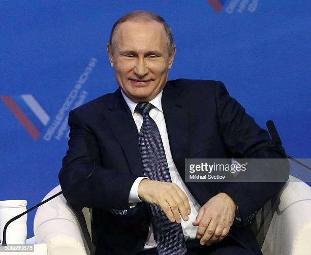 Russian President Vladimir Putin speaks during the conference of AllRussia People's Front on January 25 2016 in Stavropol Russia Putin is meeting...