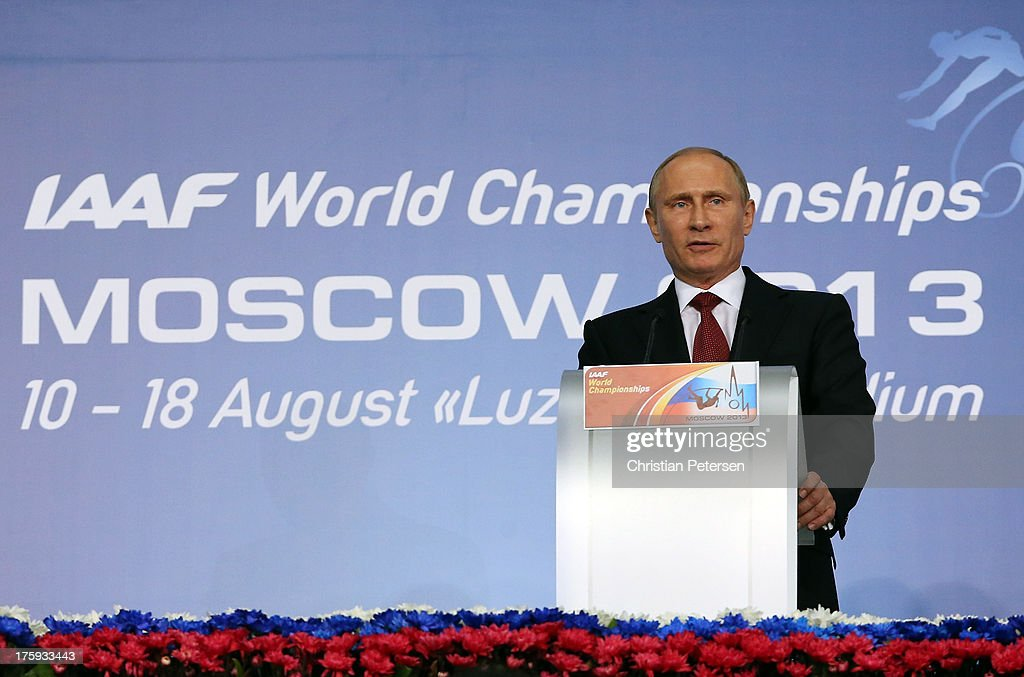 Russian President <a gi-track='captionPersonalityLinkClicked' href=/galleries/search?phrase=Vladimir+Putin&family=editorial&specificpeople=154896 ng-click='$event.stopPropagation()'>Vladimir Putin</a> speaks during the opening ceremony during Day One of the 14th IAAF World Athletics Championships Moscow 2013 at Luzhniki Stadium on August 10, 2013 in Moscow, Russia.