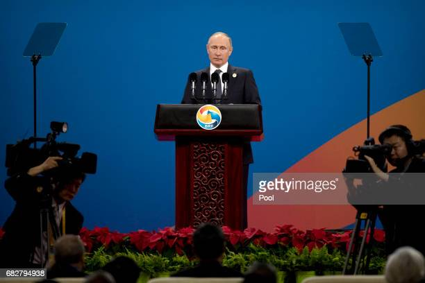 Russian President Vladimir Putin speaks during the opening ceremony of the Belt and Road Forum at the China National Convention Center in Beijing...