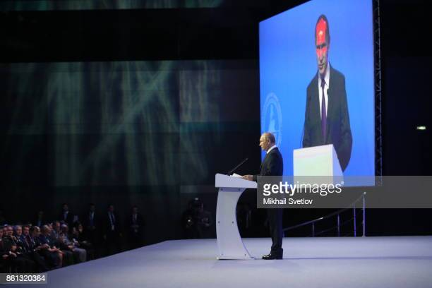 Russian President Vladimir Putin speaks during the opening of 137th InterParliamentary Union Assembly on October 14 2017 in Saint Petersburg Russia...