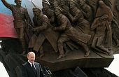 Russian President Vladimir Putin speaks during the opening of a monument to soldiers of the First World War in Victory Park on August 1 2014 in...