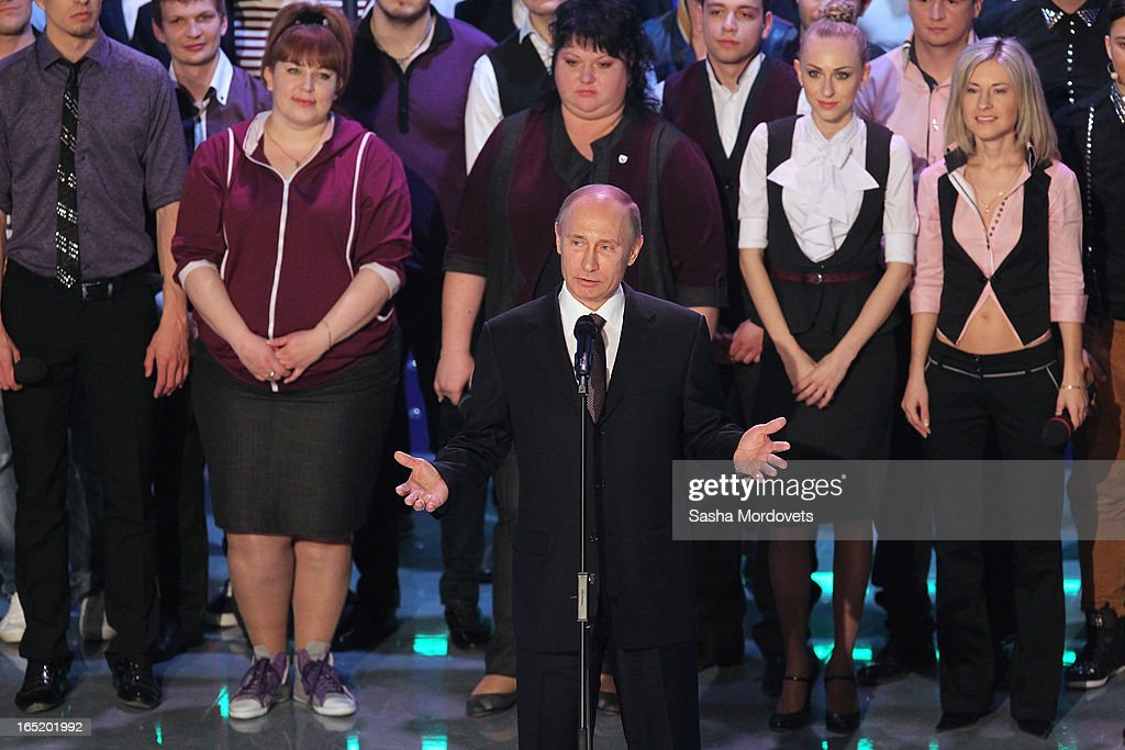 Russian President <a gi-track='captionPersonalityLinkClicked' href=/galleries/search?phrase=Vladimir+Putin&family=editorial&specificpeople=154896 ng-click='$event.stopPropagation()'>Vladimir Putin</a> speaks during the opening of the International Youth Comic Club on the television show KVN at the new building 'Planet KVN' on April 1, 2013 in Moscow, Russia. KVN is a popular comedic talent show for student teams, and has been aired on national TV since 1961.