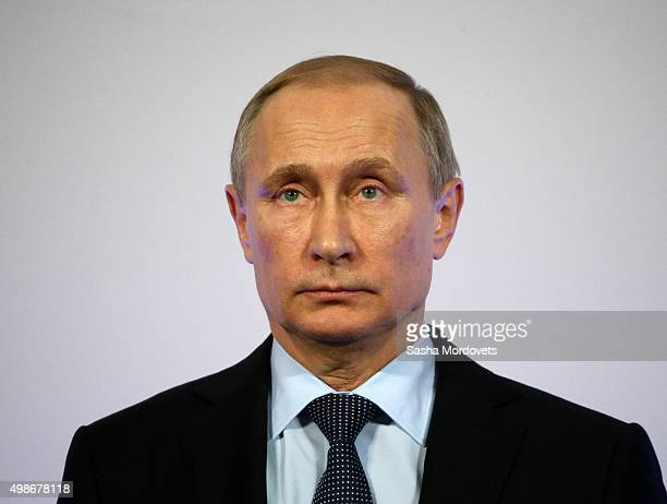 Russian President Vladimir Putin speaks during the opening of the Yeltsin Center on November 25 2015 in Nizhny Tagil near Yekaterinburg Russia...