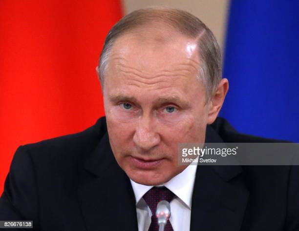 Russian President Vladimir Putin speaks during the Presidential Council on Development of Local Government on August 5 2017 in Kirov Russia Vladimir...