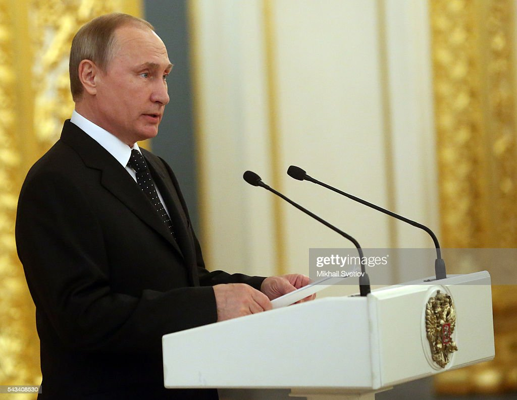 Russian President <a gi-track='captionPersonalityLinkClicked' href=/galleries/search?phrase=Vladimir+Putin&family=editorial&specificpeople=154896 ng-click='$event.stopPropagation()'>Vladimir Putin</a> speaks during the reception for graduates of military academies and universtities at the Grand Kremlin Palace on June 28, 2016 in Moscow, Russia.