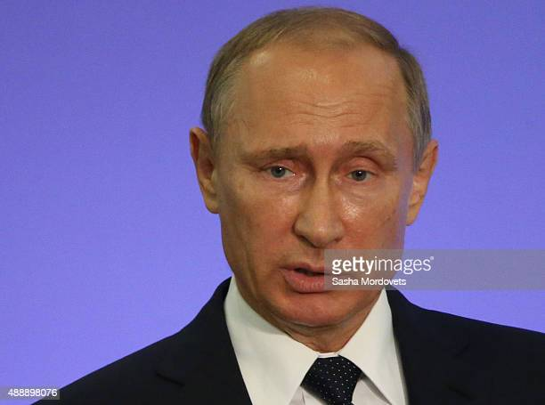 Russian President Vladimir Putin speaks during the Second Forum of Regions of Russia and Belarus on September 18 2015 in Sochi Russia Putin said this...