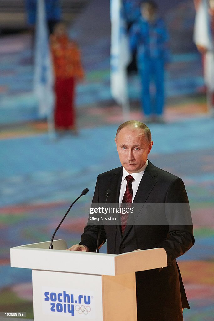 Russian president Vladimir Putin speaks during the 'Sochi 2014 - One Year To Go' ceremony at Bolshoi Ice Dome on February 7, 2013 in Sochi, Russia.