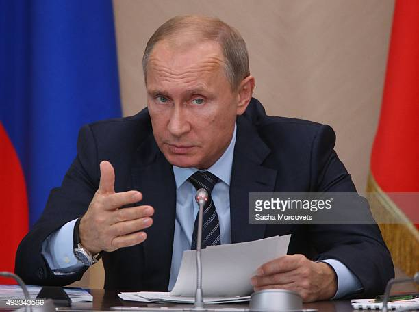 Russian President Vladimir Putin speaks during the State Concil Presidium meeting on fish industry development in Novo Ogaryovo State Residence on...