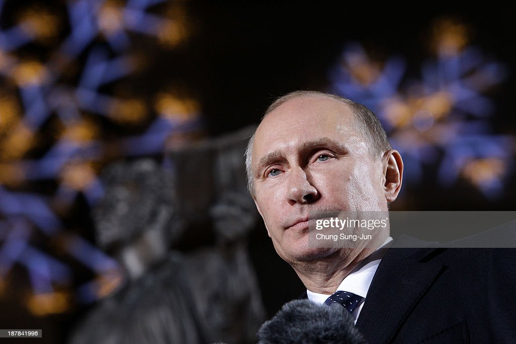 Russian President Vladimir Putin speaks during the unveiling ceremony of Pushkin statue at Lotte Hotel Seoul on November 13 2013 in Seoul South Korea...