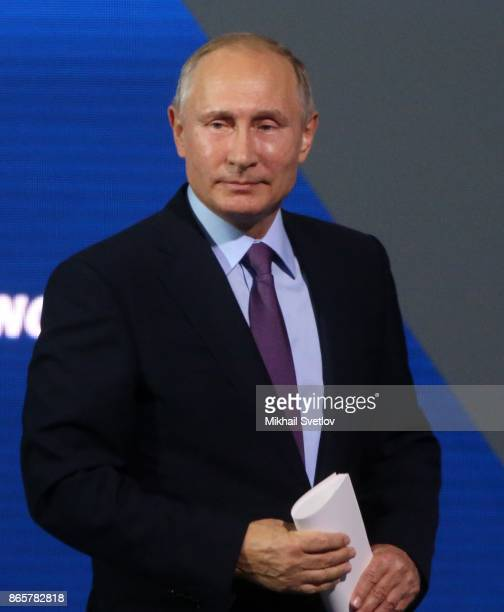 Russian President Vladimir Putin speaks during the VTB Russia Calling Forum in Moscow Russia October 2017 Putin addressed his speech to top...