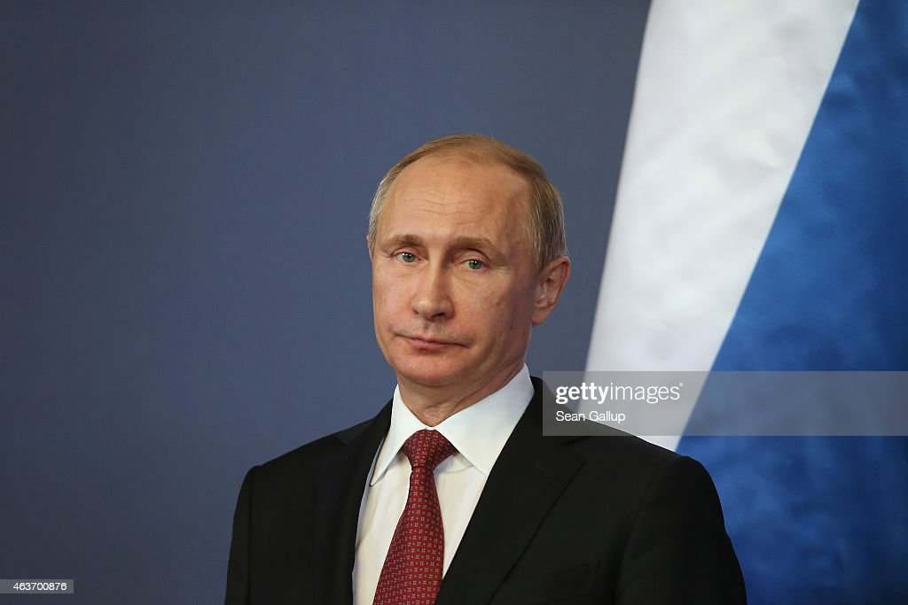 Russian President Vladimir Putin speaks to the media with Hungarian Prime Minister Viktor Orban at Parliament on February 17 2015 in Budapest Hungary...
