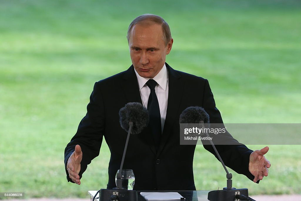 Russian President Vladimir Putin speeches during a joint press conference with Finland's President Sauli Niinisto (not pictured) at the Kultaranta residence July 1, 2016 in Naantali, Finland. Putin is having a one-day visit to Finland.