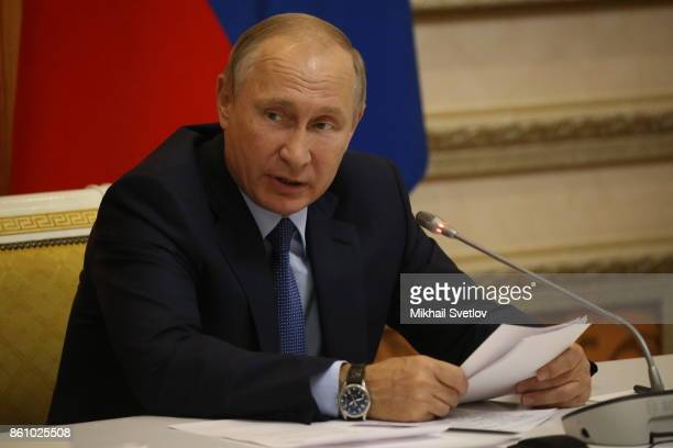 Russian President Vladimir Putin speeches during a meeting on agricultural development in Voronezh Russia October 2017 Vladimir Putin is having a...