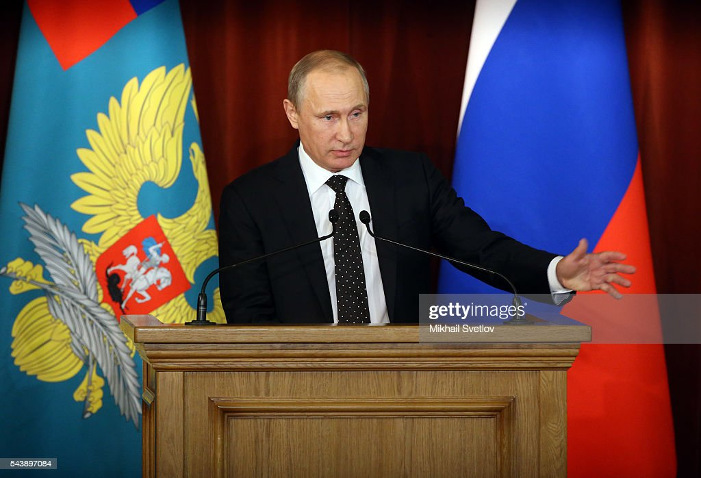 Russian President Vladimir Putin speeches during his annual meeting with ambassadors in Ministry of Foreign Affairs June 30, 2016 in Moscow, Russia. Putin said that Russia will respond to NATO's military buldup near its borders, but not be drawn into an arms race.