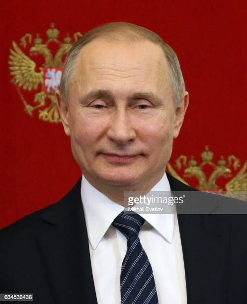 Russian President Vladimir Putin speeches during his joint press conference with Slovenian President Borut Pahor at the Kremlin in Moscow Russia...