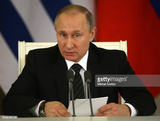 Russian President Vladimir Putin speeches during his meeting with President of Uruguay Tabare Vazquez at the Grand Kremlin Palace in Moscow Russia...