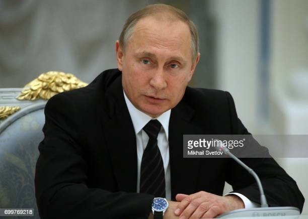 Russian President Vladimir Putin speeches during his meeting with members of Russian Academy of Sciences at the Kremlin on June 22 2017 in Moscow...