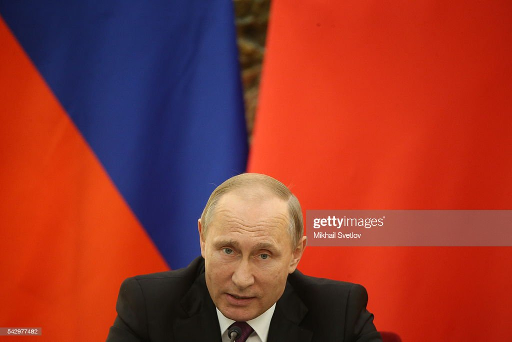 Russian President Vladimir Putin speeches during his meeting with Chinese President Xi Jinping (not pictured) in June 25, 2016 in Beijing, China. Vladimir Putin is having a state visit to China.