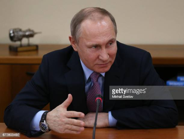 Russian President Vladimir Putin speeches during his meeting with local businessmen while visting the NPO Saturn in Rybinsk Russia April 2017 Putin...