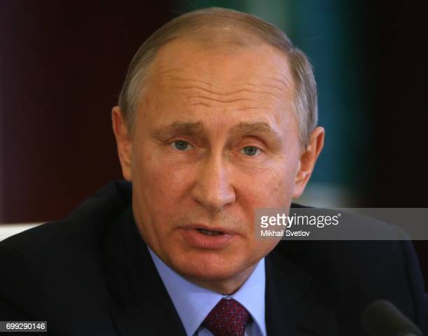 Russian President Vladimir Putin speeches during his meeting with Brazilian President Michel Temer at the Grand Kremlin Palace in Moscow Russia...