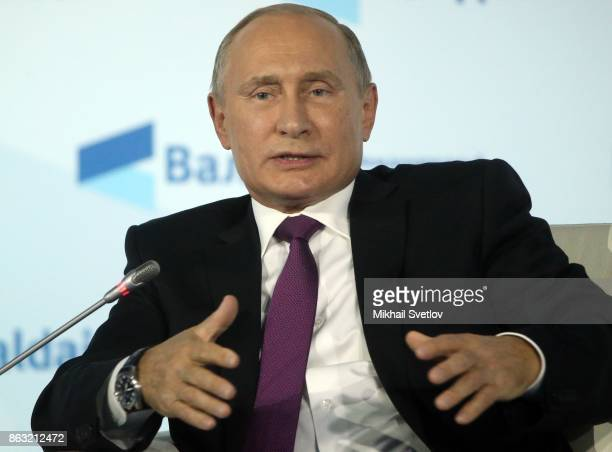 Russian President Vladimir Putin speeches during his meeting with Valdai Discussion Club members in Sochi Russia October 2017 Photo by Mikhail...