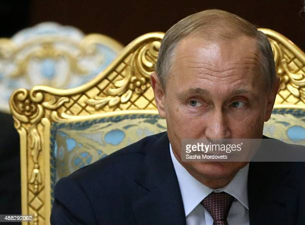 Russian President Vladimir Putin speeches during the Collective Security Treaty Organisation in Dushanbe Tajikistan September2015 Putin said at a...
