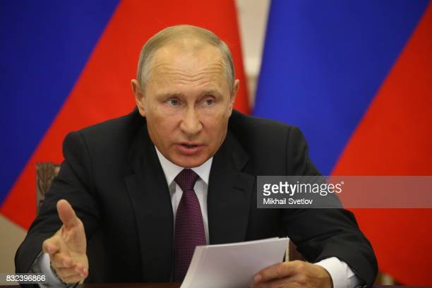 Russian President Vladimir Putin speeches during the meeting on transport infrastructure development on August 16 2017 in Pionersky Kaliningrad...