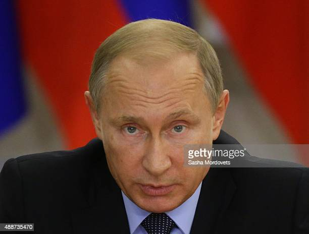 Russian President Vladimir Putin speeches during the meeting with newly elected governors September 17 2015 in Sochi Russia Putin said this week that...