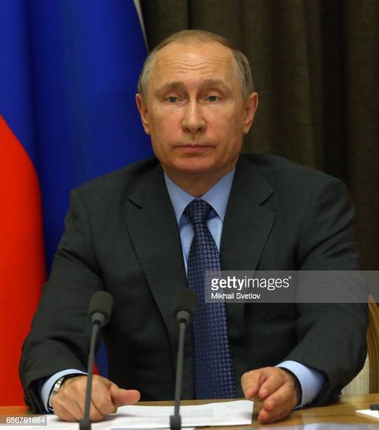 Russian President Vladimir Putin speeches during the meeting with top managers of space industry sector on May 22 2017 in Sochi Russia The number of...