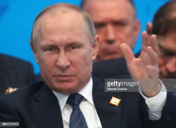 Russian President Vladimir Putin speeches during the SCO Summit Meeting on June 9 2017 in Astana Kazakhstan Russian President Vladimir Putin and...