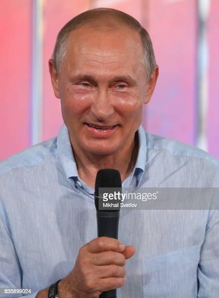Russian President Vladimir Putin speeches during the Tavrida International Youth Forum August 20 2017 in Steregushcheye at Bakalskaya spit Crimea...