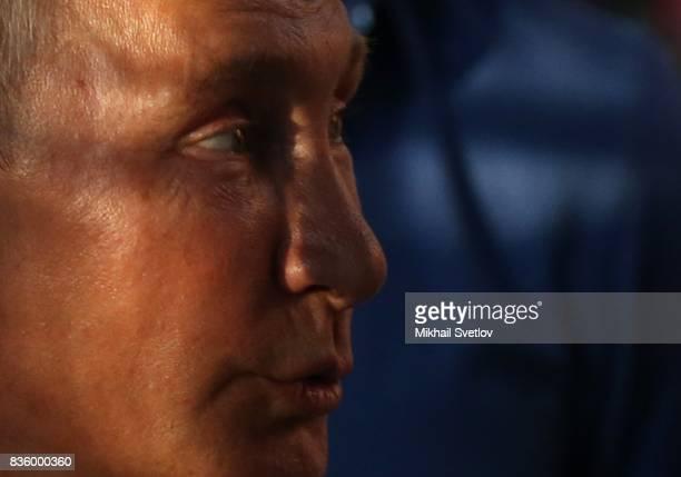 Russian President Vladimir Putin speeches during the Tavrida International Youth Forum in Steregushcheye at Bakalskaya spit Crimea August2017...