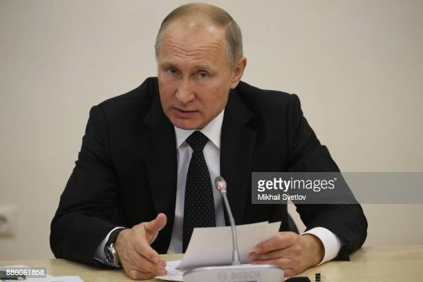 Russian President Vladimir Putin speeches while visiting the State Academy of Arts Specialized on December 5 2017 in Moscow Russia Photo by Mikhail...
